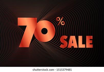 Futuristic red wave frame sale number vector black background, shiny metal rose gradient rotate line border sales promotion illustration, 70% off, seventy percent discount web banner poster template