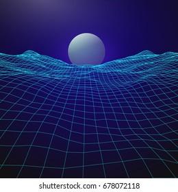 Futuristic retro design. 80s year style. Digital Landscape with rising planet on horizon. Vector Illustration.