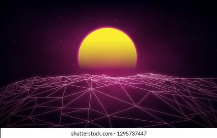 Futuristic retro landscape of the 80`s. Vector futuristic illustration of sun  retro style. Digital Retro Cyber Surface. Suitable for design in the style of the 1980`s.