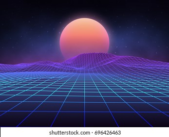 Futuristic retro landscape of the 80`s. Vector futuristic illustration of sun with mountains in retro style. Digital Retro Cyber Surface. Suitable for design in the style of the 1980`s.