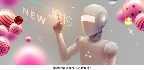 Futuristic robot with 2019 New Year effects for holiday artifical intelligence concept. Machine learning technologies for business. Coding and application development. Eps10 vector illustration.