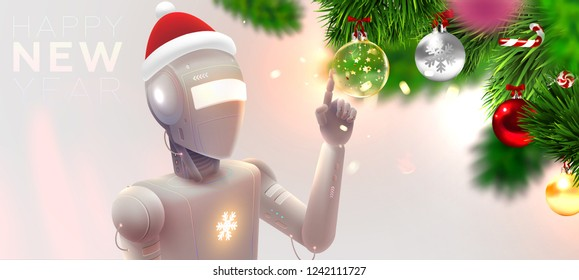 Futuristic robot with Christmas decorations for holiday artifical intelligence concept. Machine learning technologies for business. Coding and application development. Eps10 vector illustration.