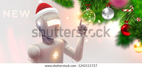 Futuristic Robot Christmas Decorations Holiday Artifical