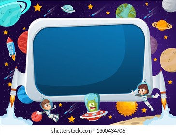 Futuristic rocket screen board with astronaut cartoon children and alien in the space.