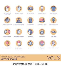 Futuristic rounded icon set. Neural interface, future farming, wireless energy, noosphere, autonomous, synthetic biology, memory transfer, artificial intelligence, smart home, humanoid, graphene.