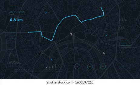 Futuristic route dashboard GPS tracking map, navigate mapping technology and final destination on the streets of the city Moscow