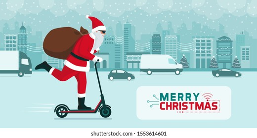 Futuristic Santa Claus carrying gifts on a electric kick scooter in the city street at Christmas