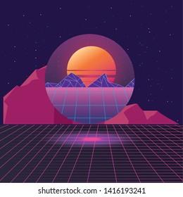 futuristic scene screen planet vector ilustration vector ilustration