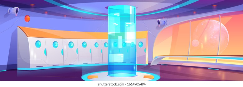 Futuristic school hallway interior with lockers and round hologram with adverts. Vector cartoon background of empty corridor in college, university with cosmos behind spaceship window