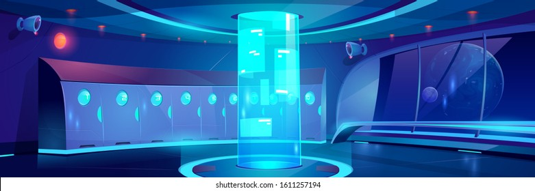 Futuristic school hallway interior at night. Vector cartoon background of empty corridor with lockers and round hologram with adverts in college, university in spaceship