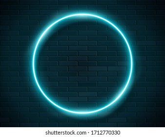 Futuristic Sci Fi Modern Neon Blue Glowing Circle Frame for Banner on Dark Empty Grunge Concrete Brick Background. Vector Vintage Green Mint Colored Circle Lamp. Retro Neon Sign