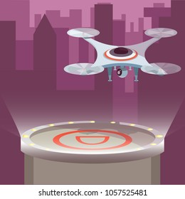 Futuristic science fiction nightly drone concept with action camera created video in city.  Modern flat cartoons style vector illustration on white. Drone sits landing area against night metropolis.