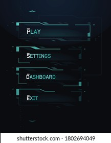Futuristic Sci-Fi FUI Menu Buttons Set for Mobile Video Games and Interactive Projects