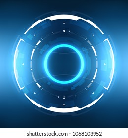 Futuristic Sci-Fi HUD Circle Element. Abstract Hologram Design Background. Virtual Reality