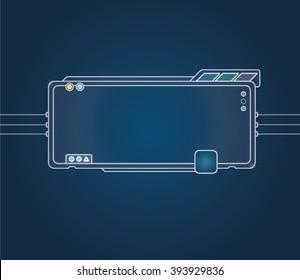 Futuristic screen tablet device hi-tech screen