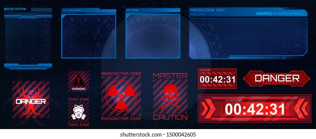 Futuristic screens HUD, GUI, UI and set titles (warning, danger сounthdown and other). Futuristic User Interface, frame screens. Hi-tech callout bar labels, digital templates. Vector callout titles