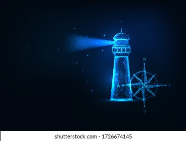 Futuristic sea adventure concept with glowing low polygonal lighting house and compass rose isolated on dark blue background. Modern wire frame mesh design vector illustration.
