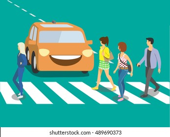 Futuristic self driving car waiting when pedestrians will cross street.Vector