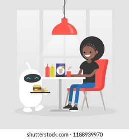 Futuristic service: robot carries a tray with burger and french fries. Modern restaurant. Fast food. Machine learning. Flat editable vector illustration, clip art