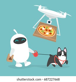 Futuristic services: robot walking the dog and drone pizza delivery / flat editable vector illustration, clip art