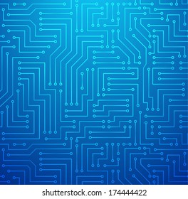 Futuristic Shining Light Blue Technology Background �¢?? Printed Circuit Board Seamless with Pattern in Swatches