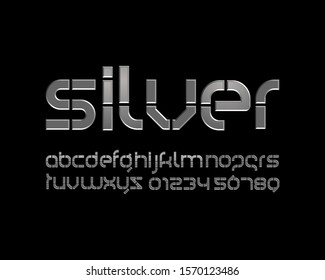 Futuristic Silver font set in vector format