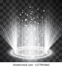 Futuristic silver neon light portal, crown shape laser cylinder light, glowing sparkles on transparent background. Magical glittering stardust illumination. Blinking energy stream. Hologram station.