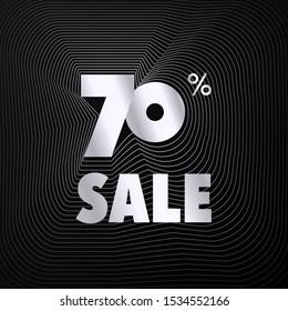 Futuristic silver wave frame sale number vector black background, shiny metal grey gradient rotate line border sales promotion illustration, 70% off seventy percent discount web banner poster template