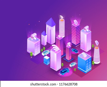Futuristic smart city concept, buildings connected with automated technology to manage and control household functionalities and day to day activities.