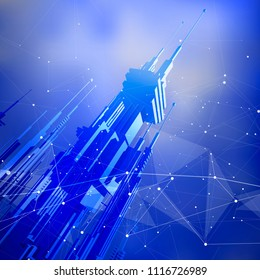 futuristic smart metropolis city with skyscrapers of the future entangled by information networks, digital waves, stars, lines, triangles, points & dots - blue background - vector illustration / eps10