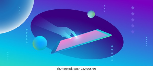 Futuristic smart technology abstract illustration. Holographic hand touches the tablet