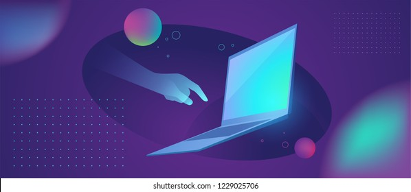 Futuristic smart technology abstract illustration. Holographic hand touches the laptop
