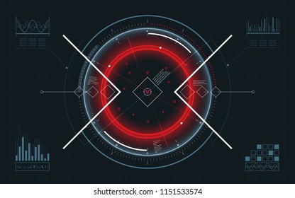Futuristic spaceship HUD Display. Digital user interface screen. Technology abstract background. Spaceship holographic target dashboard. Interactive target capture system. Vector illustration