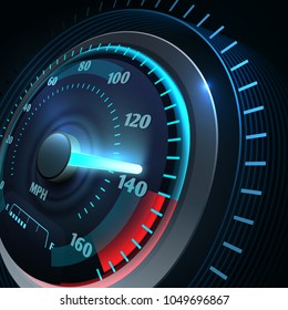 Futuristic sports car speedometer. Abstract speed racing vector background. Speedometer and speed car equipment, fast and power illustration