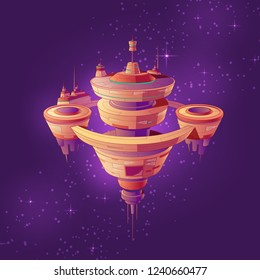 Futuristic starship, intergalactic space station or future orbital city among stars cartoon vector illustration. Deep space exploration and colonization. Science fiction extraterrestrial technologies