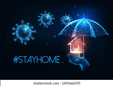 Futuristic stay at home during coronavirus quarantine concept with glowing low polygonal virus cells, holding hand, umbrella and residential house isolated on dark blue background.