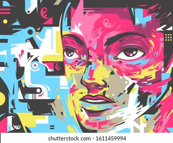 Futuristic style art poster with a character portrait. Vector illustration in CMYK color print scheme.