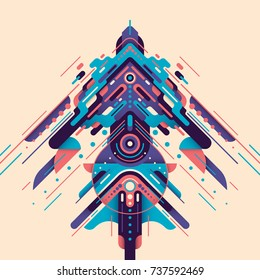 Futuristic style design, made of various abstract geometric shapes in color. Vector illustration.