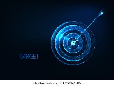 Futuristic success, goal concept with glowing low polygonal target and arrow hit the center isolated on dark blue background. Modern wire frame mesh design vector illustration.