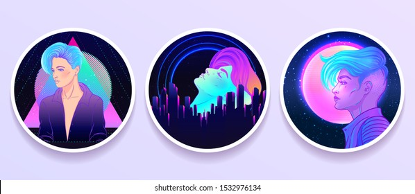 Futuristic synth wave style. Retroparty  flyer template. Portrait of a young pretty androgynous woman with short shaved pixie undercut in retro futurism style. Vector illustration in neon bright color