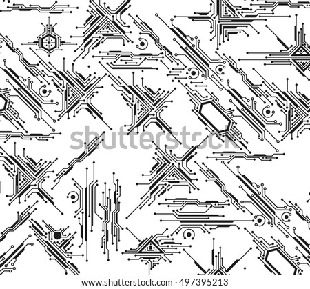 Futuristic Technology Background Sci Fi Printed Circuit Stock Vector