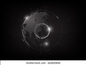 Futuristic technology globe in hologram globalization concept, world map hexagon pattern transparent for digital graphic element, vector illustration