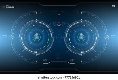 Futuristic Technology HUD Screen. Tactical View Sci-Fi VR Dislpay