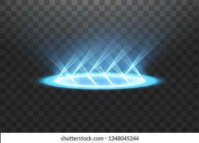 Futuristic teleport. Magic fantasy portal. Light effect. Blue candles rays of a night scene with sparks on a transparent background. Empty light effect of the podium. Disco club dancefloor.