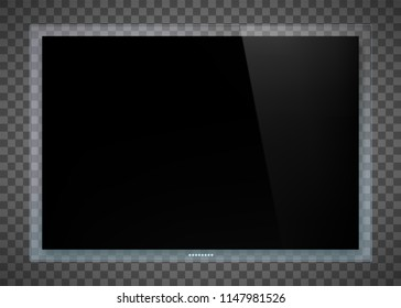 Futuristic television set device with a transparent glass screen. Technology tv on transparent background. Stock vector illustration.