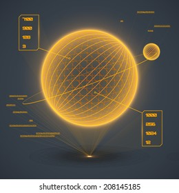 Futuristic touch user interface projection. Abstract astronomy concept. Glowing geometric computer game dashboard. Vector illustration.
