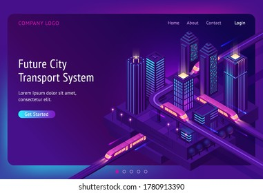 Futuristic town with train highway and skyscrapers at night. Future city transport system banner. Vector landing page of innovation in transport infrastructure with isometric cityscape