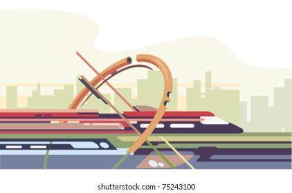 futuristic train riding around the city