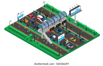 Futuristic transport isometric template with conceptual cars of future highway pedestrian bridge and billboards vector illustration