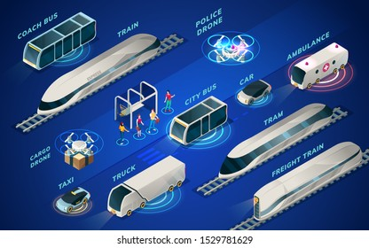 Futuristic transport or set of isolated isometric icons of smart city vehicle. Future electric transportation. Police and cargo drone, hyperloop train and tram, car or auto, bus and taxi, truck, coach